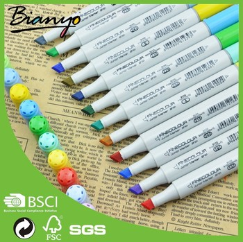OEM artist grade chalk Finecolour marker pen permanent paint fabric markers wholesale,sketch markers