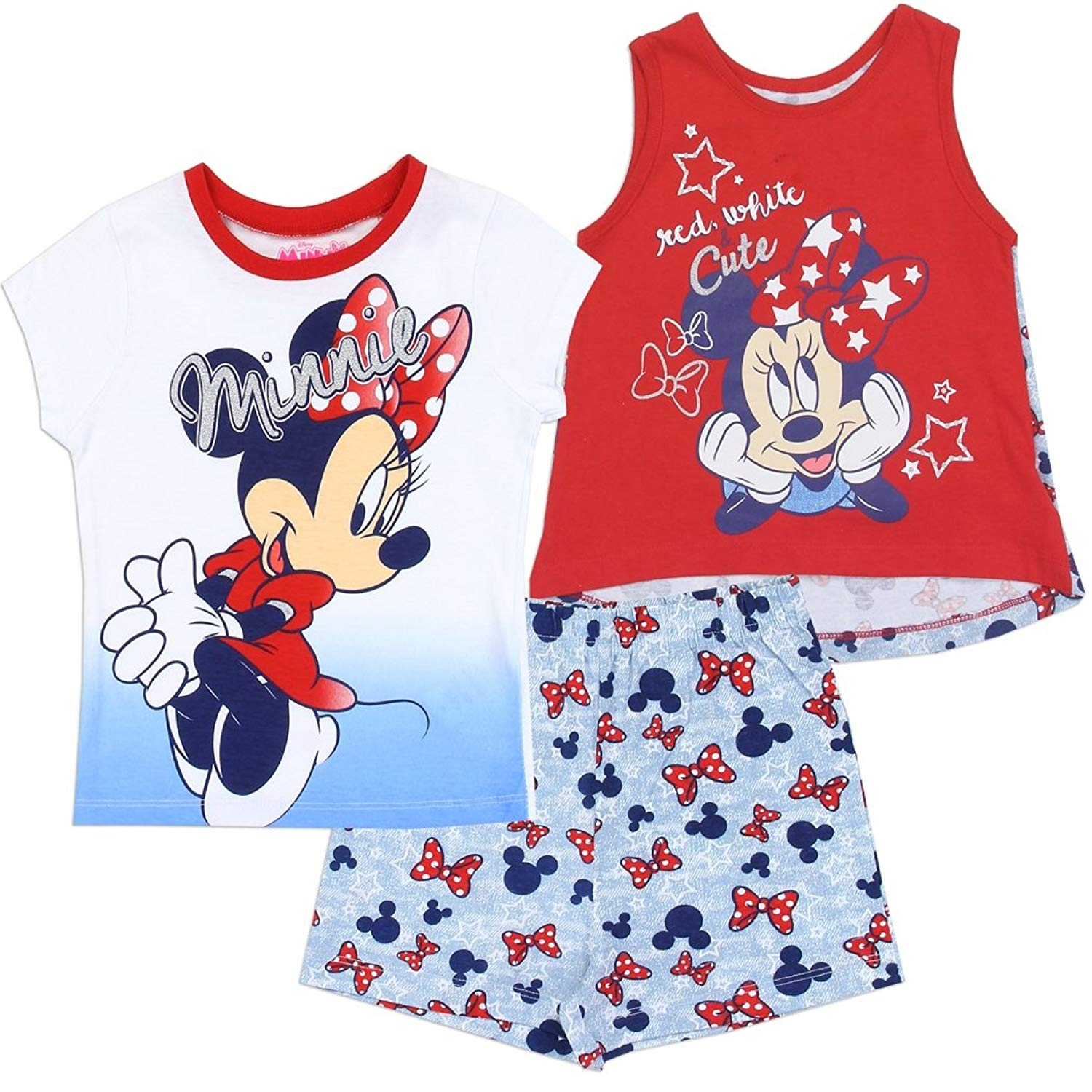 Minnie Mouse Girls 3-Piece Set Includes Tank Top, T-Shirt, and Shorts