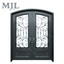Simple Designs Metal Grill Wrought Iron Double Main Door and Glass