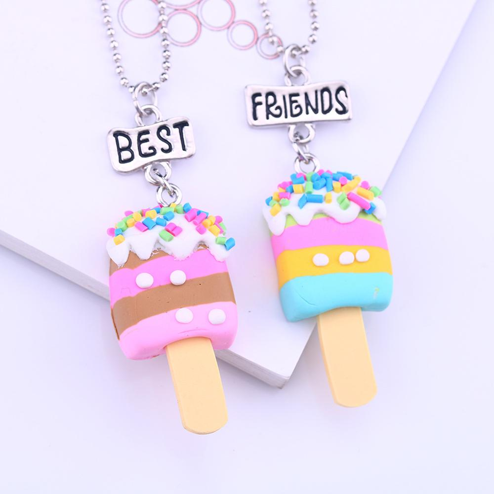 New <strong>cheap</strong> wholesale <strong>cute</strong> ice cream best friend sets children <strong>necklace</strong> for Christmas Gift