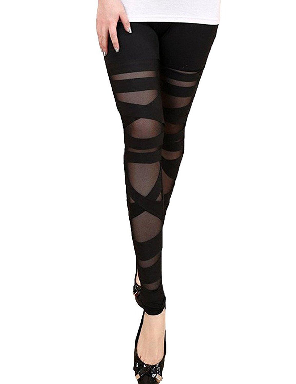 d1699a6507790 Get Quotations · FUT Women Girls Sexy Solid Color Bandage Mesh Black  Leggings Tight Pants