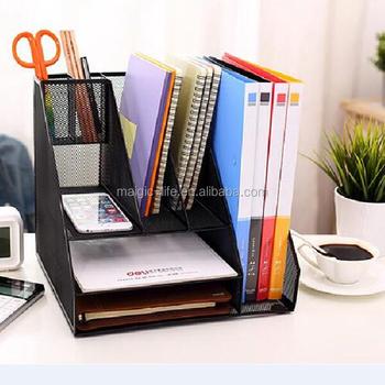 Office Stationery Metal Mesh Desk Organizer With Pen Holder Memo Holder