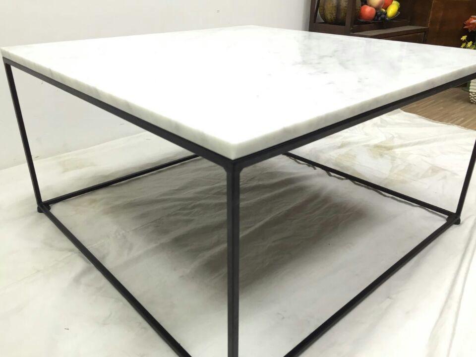 Cheap Modern Carrara White Marble Top Black Steel Coffee Table Buy - White carrara marble coffee table