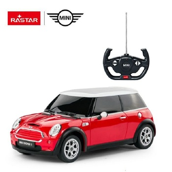 RASTAR rc 1:14 toy led light mini cooper logo electric car for boy