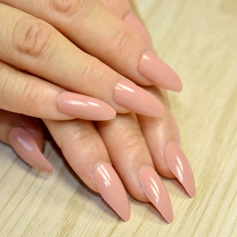 24pcs/kit Nude Pink Fake <strong>Nails</strong> Shiny Surface Pointed <strong>Acrylic</strong> <strong>Nail</strong> <strong>Tips</strong> Easily Decorate Your Fingers DIY Material 155P