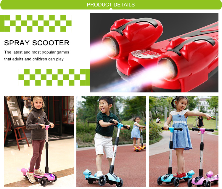 3 wheel folding adjustable electric kids spray scooters with led lights