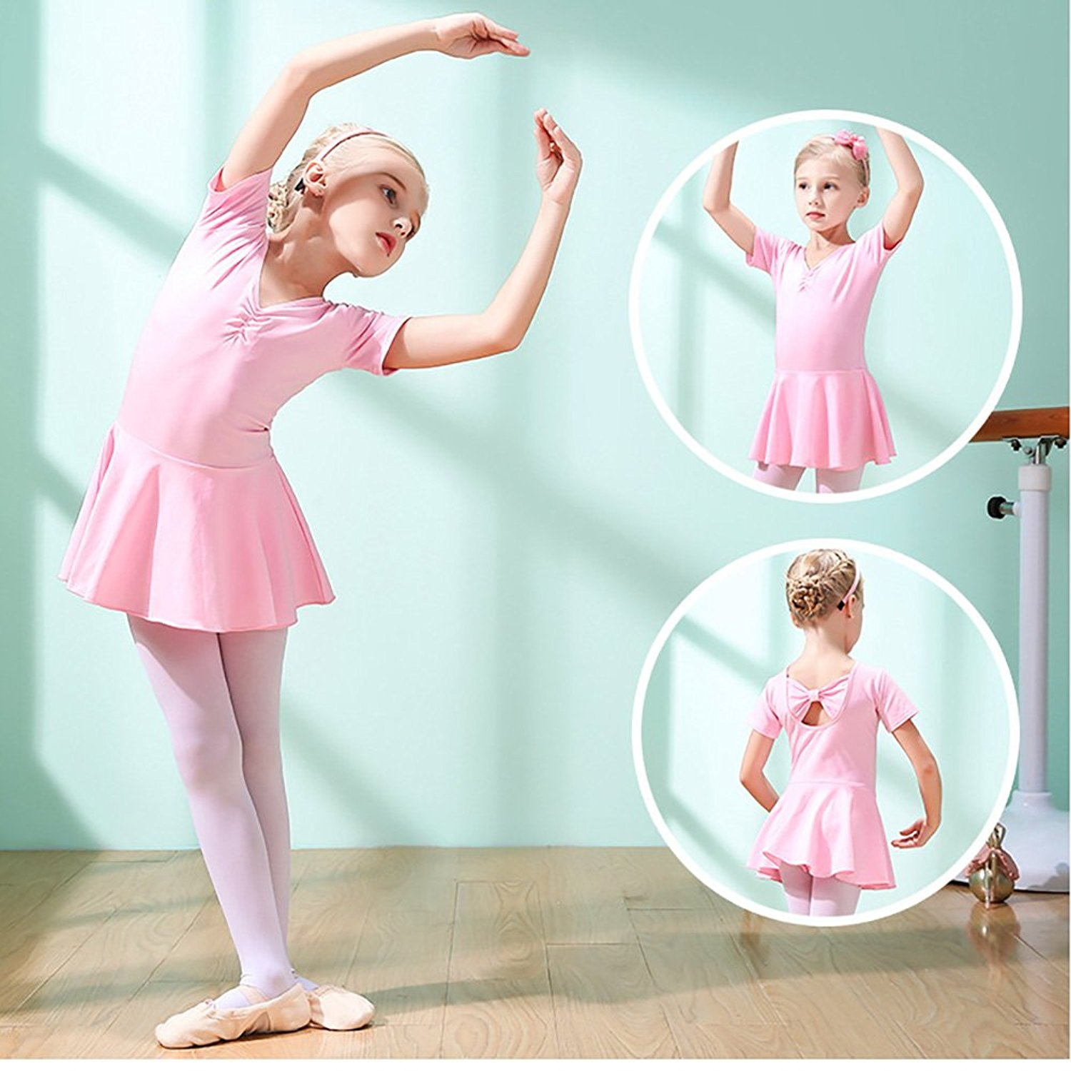 4d8a813fab1fff Get Quotations · Vgerger Pink Dance Leotards Gymnastics with Leggings Set  Short Sleeved Dance Dress with Tight Pants Suits