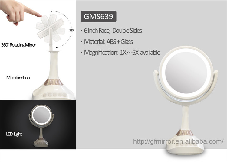 Multi-media Led Pedestal 5x Magnifying Mirrors Cordless Make up Mirror, Led Over The Door Ring Light Mirror