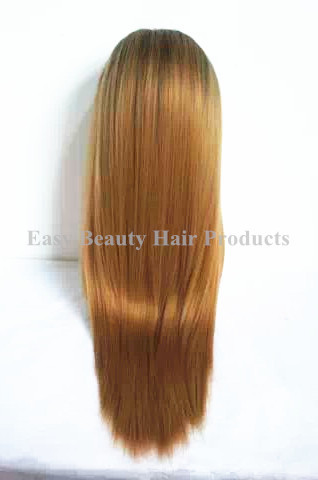 Malaysian Light Bonde Ombre hair Two Tone #1B/27 lace front wigs Full Lace Wig Silky straight hair with baby hair blonde ombre