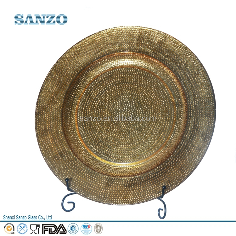 Sanzo Custom Glassware Manufacturer Wholesales Round Beaded Glass <strong>Plate</strong>