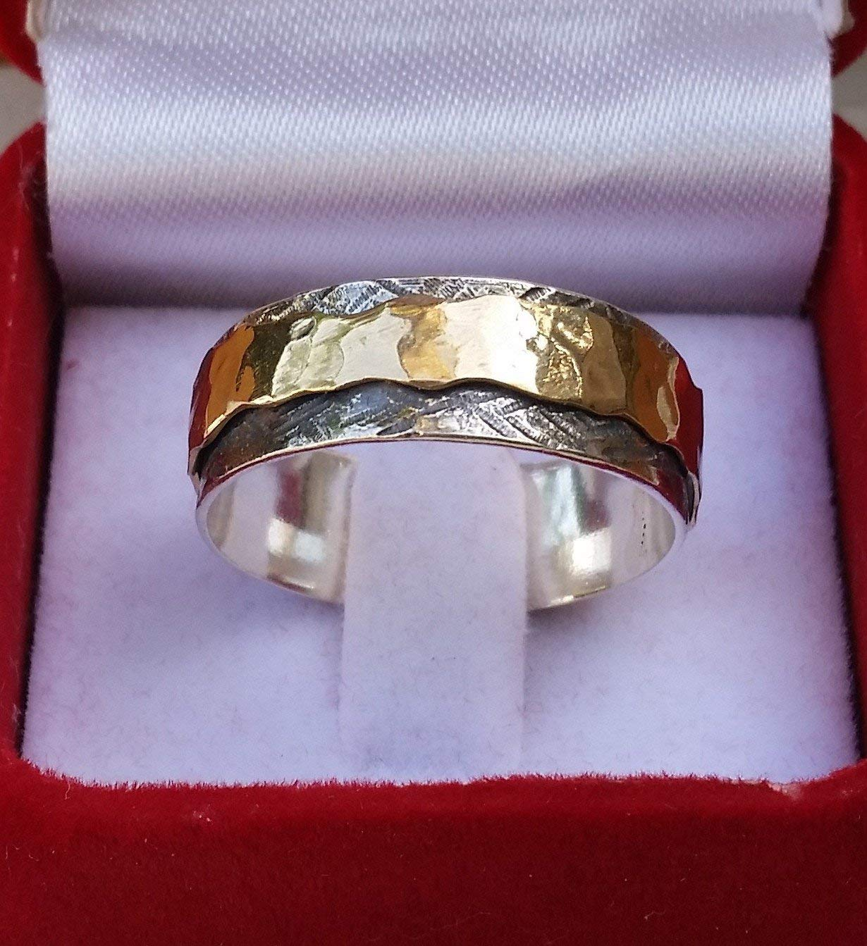 Silver And Gold Spinner Ring ,Handmade Wedding Band ,Oxidized Spinner Ring ,Bride and Groom Spinner Ring ,Unisex Spinner Ring ,Hammered Ring