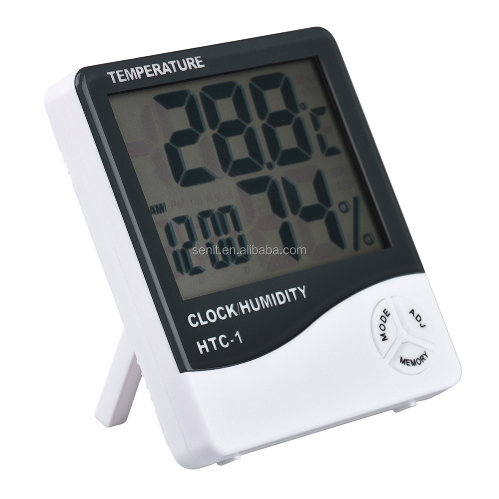 New LCD Digital Temperature Humidity Meter with Alarm Clock Hygrometer HTC-1 - KingCare | KingCare.net