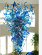 Hand Blown light blue murano Glass art luxurious large chandelier hotel