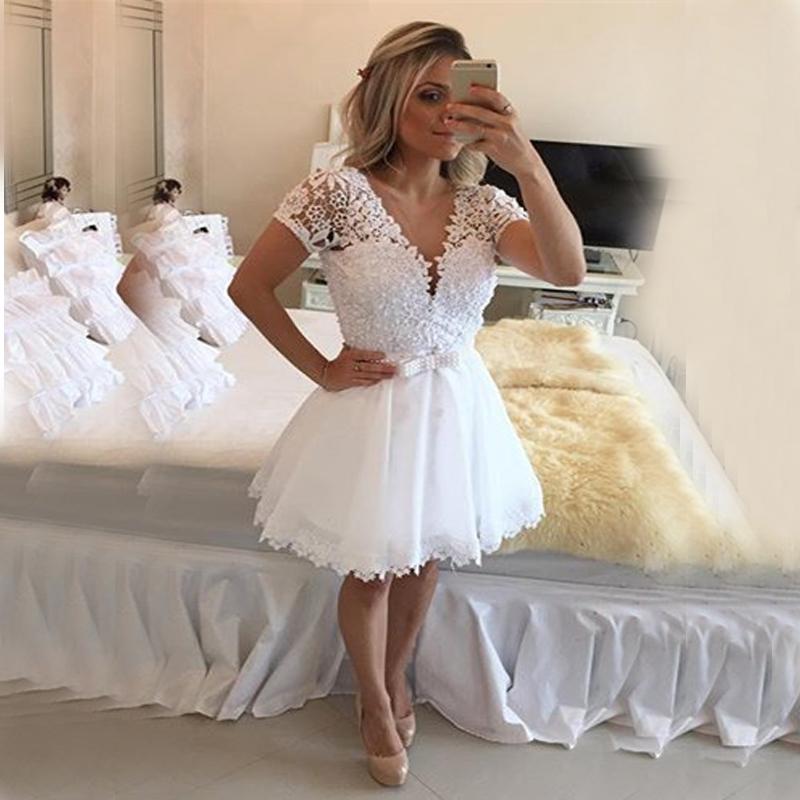 Short Sleeve Lace Wedding Dresses 2016 Chiffon Simple: Actual Image Short Ivory Wedding Dresses 2016 A Line