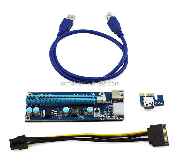 PCIe PCI-E PCI Express 1x to 16x USB 3.0 Data Cable SATA to 6Pin IDE Molex Power riser for ETH GPU/BTC mining
