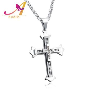 0042326c8edb 2018 nueva tendencia de moda para hombre accesorios de la joyería de plata  doble cruz hombres