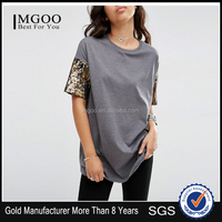 China MGOO OEM Manufacturer Plain Lady T-shirt With Sequin Sleeve/O-neck Lady T-shirt