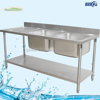 Commercial Kitchen Sink Table With Double Bowl Stainless