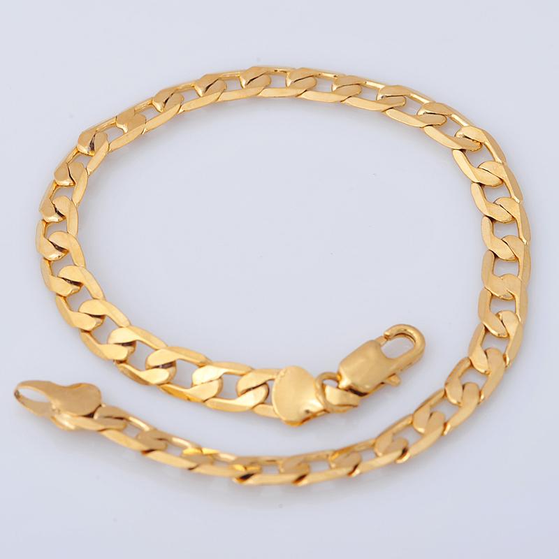Gold Link Bracelet Womens: Fashion Jewelry Link Bracelet For Women/Men 18K Yellow