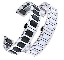 Stainless Steel Ceramics Link Replacement Watch band Strap Bracelet with Butterfly Buckle Clasp