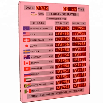 Foreign Currency Exchange Led Indoor Display Bank Panel Board