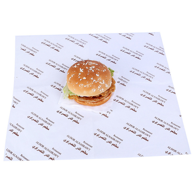 O costume imprimiu o papel de envolvimento de empacotamento da manteiga do sanduíche do hamburguer do hamburguer do alimento