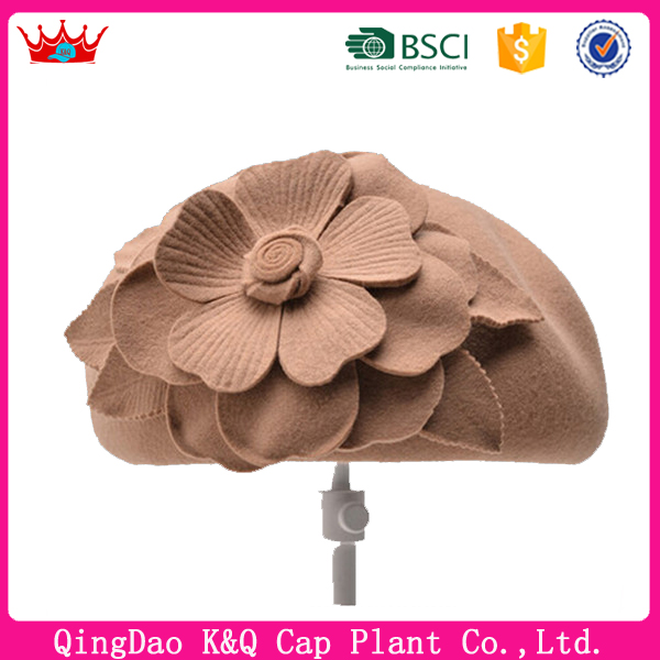 Custom Felt Beret Hats for Women with Big Flower