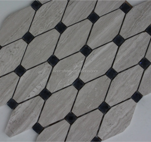 manufacturers China Grey Wooden Octagon Marble mixed diamond Mosaic Tile