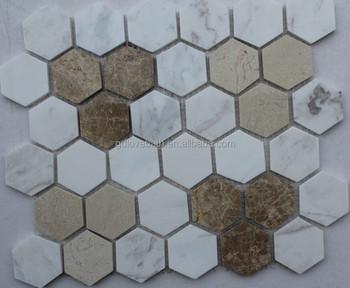 Esagono mosaico di marmo doccia pavimento di piastrelle mosaico