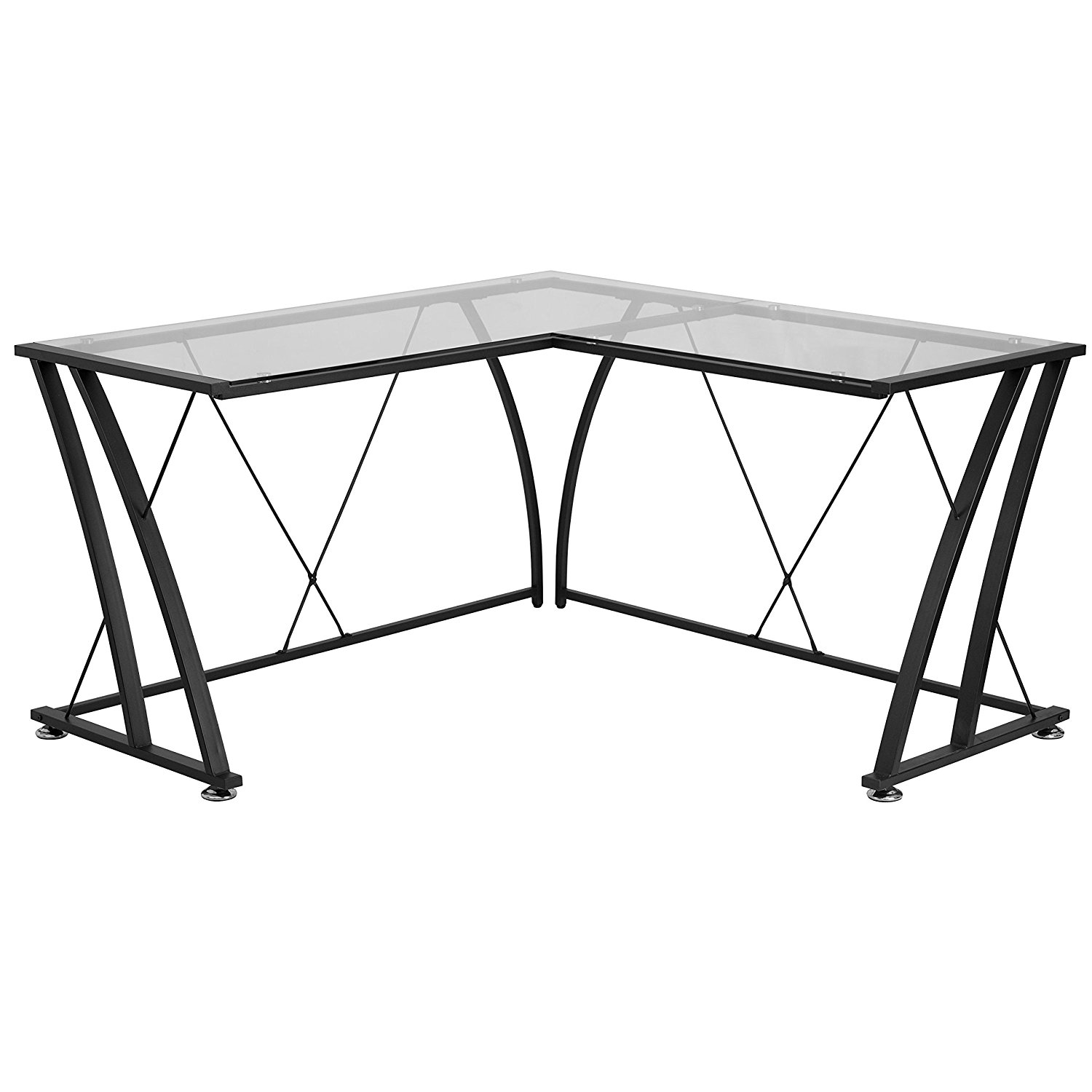 A Line Furniture Jigos L-Shaped Clear Tempered Glass Top Black Frame Computer Desk