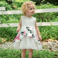 2019 Wholesale Flower Girl Dresses Toddlers Little Baby Girls Tulle Party Princess Dresses