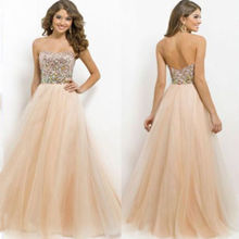 2015 Hot New Sequins Long Formal Dress Prom Ball Gown Evening Party Bridesmaid Dress