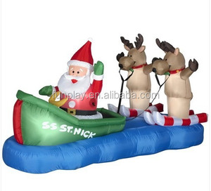 HI hot sale Christmas inflatable snowman ,Water skiing Canoe Boat Santa Reindeer Christmas Air blown Inflatable