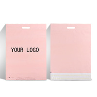 self adhesive sealing custom logo designs pink polymailer courier envelope plastic package bag with handle