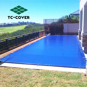 Super dense solid winter dark blue mesh above ground pool with desk safety pool blanket cover for swimming pools