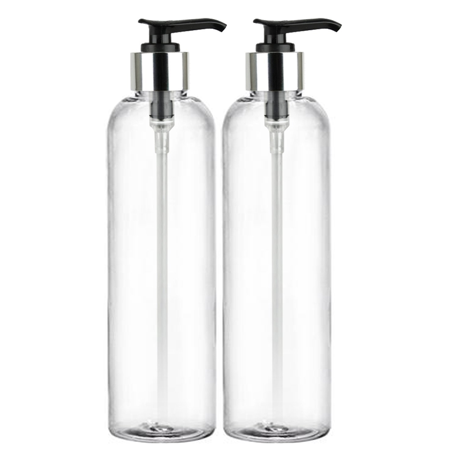 MoYo Natural Labs 8 oz Pump Dispenser, Empty Soap and Lotion Bottles with Locking Cap, BPA Free PET Plastic Containers for Essential Oils/Liquids (2 pack, Clear)