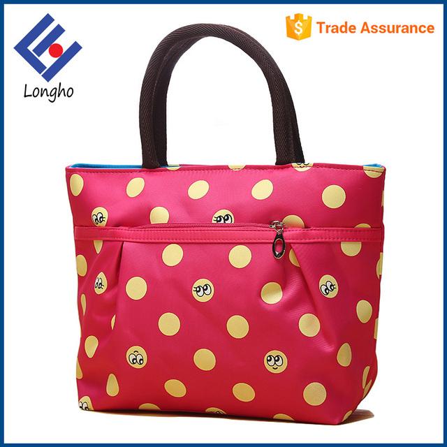 China wholesale custom ladies fancy hand bags creative emoticon dot printed  cute handbag with front zip 3208610de55ed