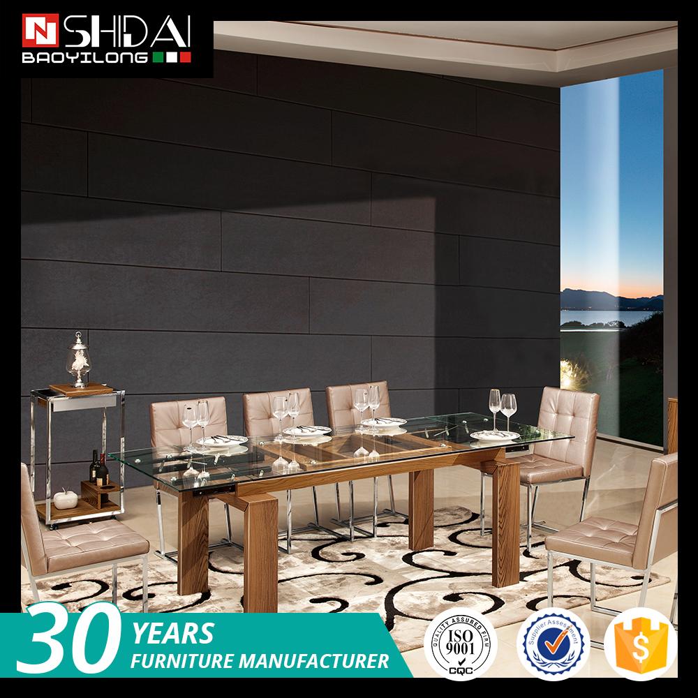 Moderno de vidrio de mesa comedor con sillas 6 comedor de for Juego de comedor con mesa de vidrio