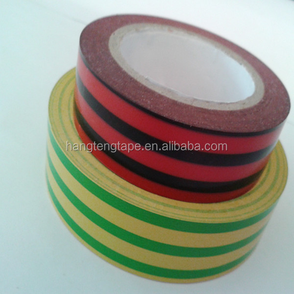 Yellow-green stripe Insulated Adhesive PVC Vinyl Electrical Tape