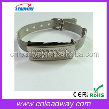 New product USB2.0 metal wristband,metal case wristlet usb flash disk,crystal bracelet usb