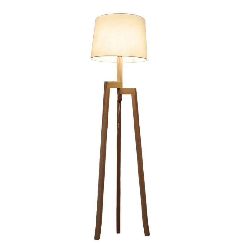 Us 209 99 50 Off Modern Minimalist 3 Leg Wood Tripod Floor Lamp With Fabric Shade Creative Floor Light For Living Room Study Lighting Fixture Fl9 In
