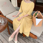 High Quality Korean Ins Style Ginger Button Half Sleeve Long Summer Vacation Dress