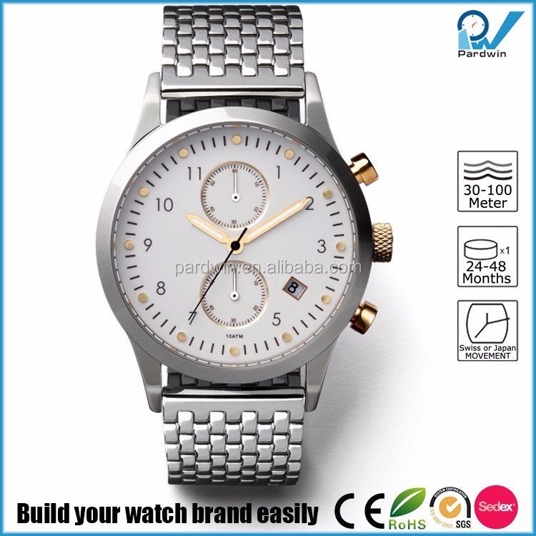 Ivory White Dial Chronograph Watches polished stainless steel case mesh band gold index date calendar