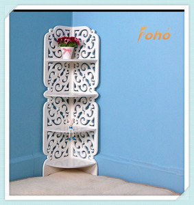 Pure white European style carved corner shelving unit