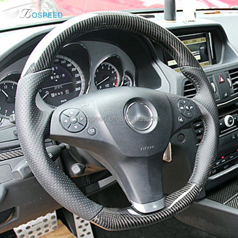 FOR MERCEDES W212 BLACK PERFORATED LEATHER STEERING WHEEL COVER SKY BLUE STITCH