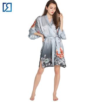 Short Sleeve Kimono Thigh Length Satin Silk Robe For Women - Buy ... 7b6e37293