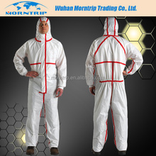 disposable microporous coverall with red reinforced strips