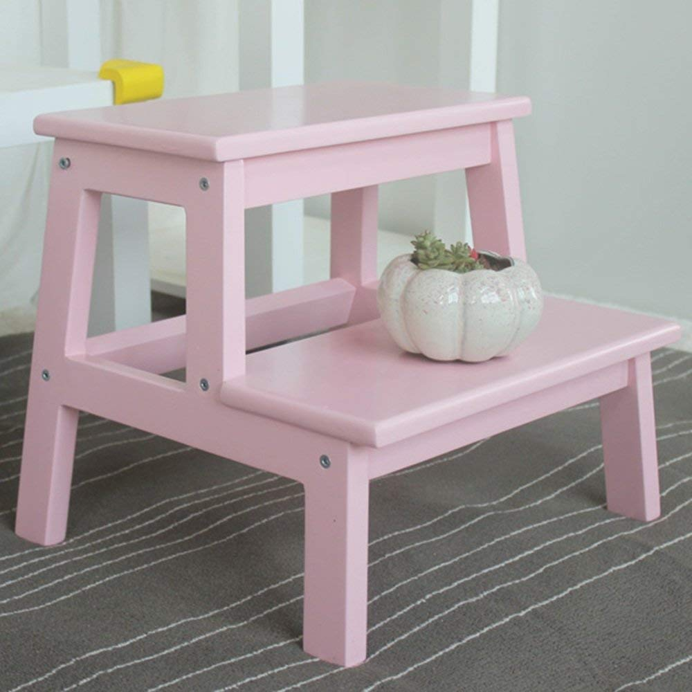Zxqz Step Stools Household Solid Wood Stool Children Ladder Multi Color Optional Folding Pink In
