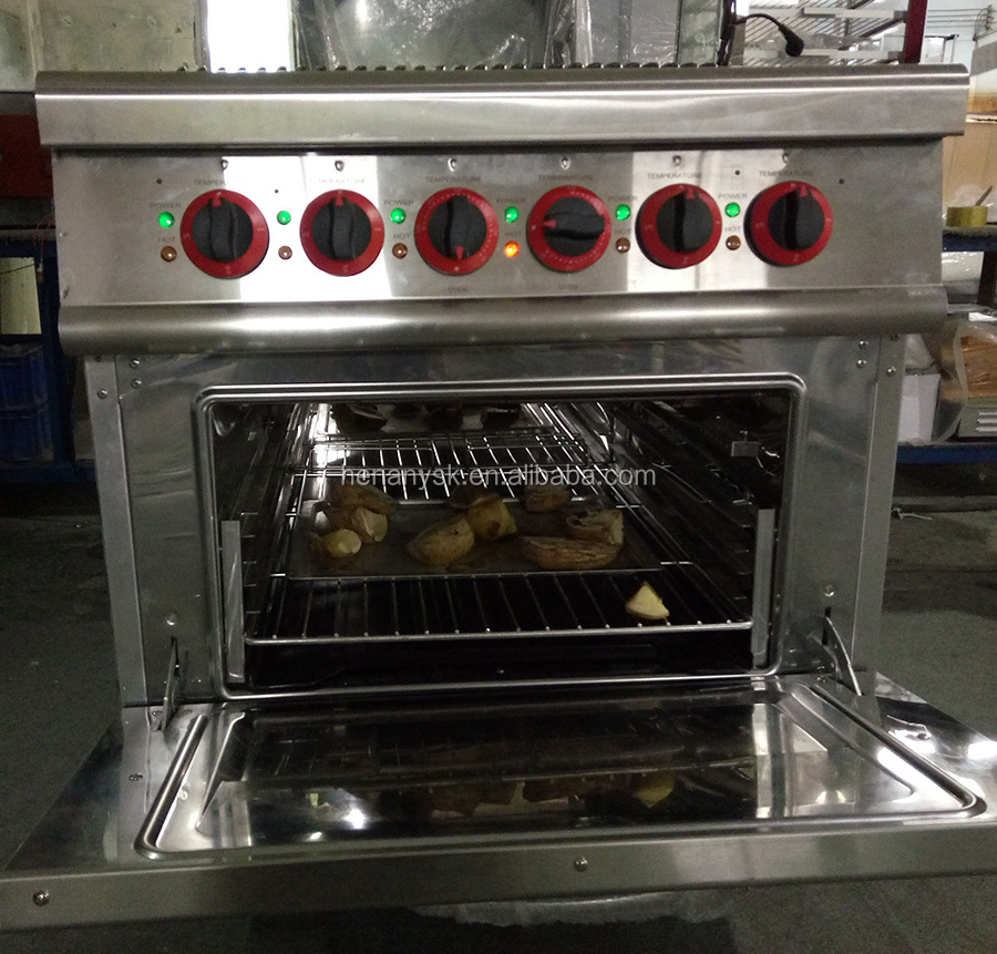 GH-987B Commercial 4 Burners Gas Cooking Range Cooker Kitchen Equipment With Gas Electric Oven