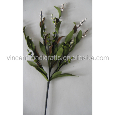 Spring style white and green pip berry pick artificial flower pick for home, office, party, holiday decor.